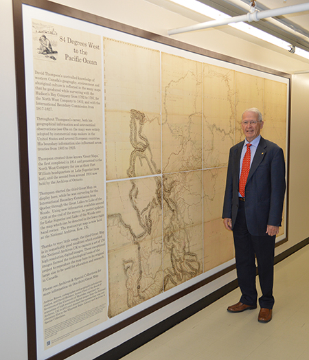 David Malaher with the map displayed at the Elizabeth Dafoe Library, University of Manitoba